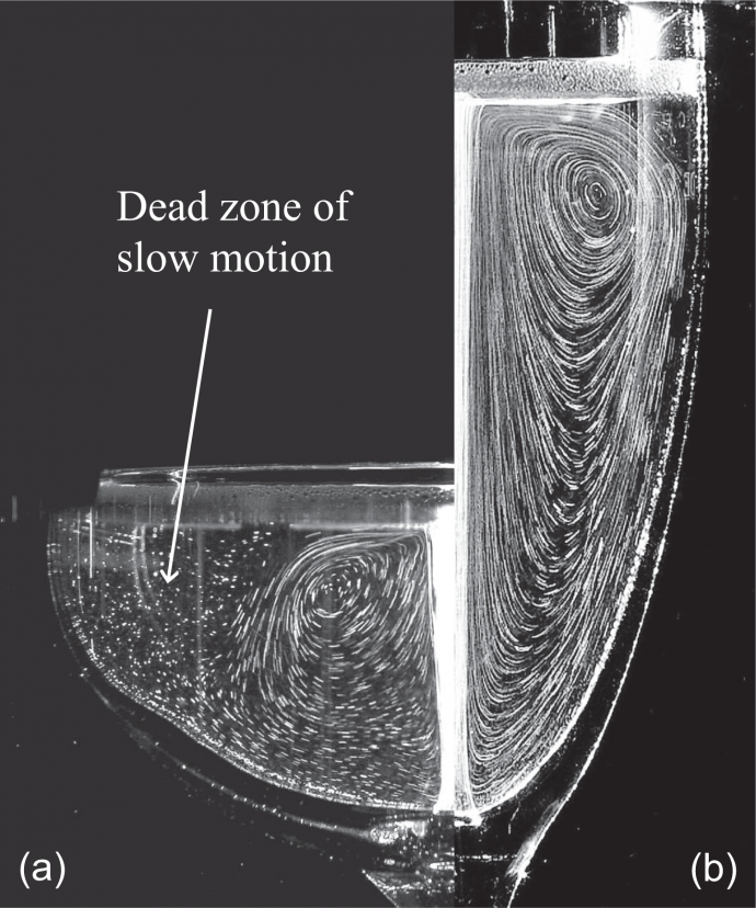 스파클링 와인의 거품은 와인 속에 담겨 있는 향 분자를 표면으로 이동시킨 뒤 공기 중으로 분출하는 역할을 한다. 입구가 넓고 깊이가 얕은 잔은 중심 부분에만 작게 흐름이 생기면서 가장자리는 와인이 움직이지 않는다(a). 반면에 입구가 좁고 깊이가 깊은 잔은 잔 전체에 와인 흐름이 생기면서 거품의 이동이 활발하다(b). - 유럽물리학저널 제공